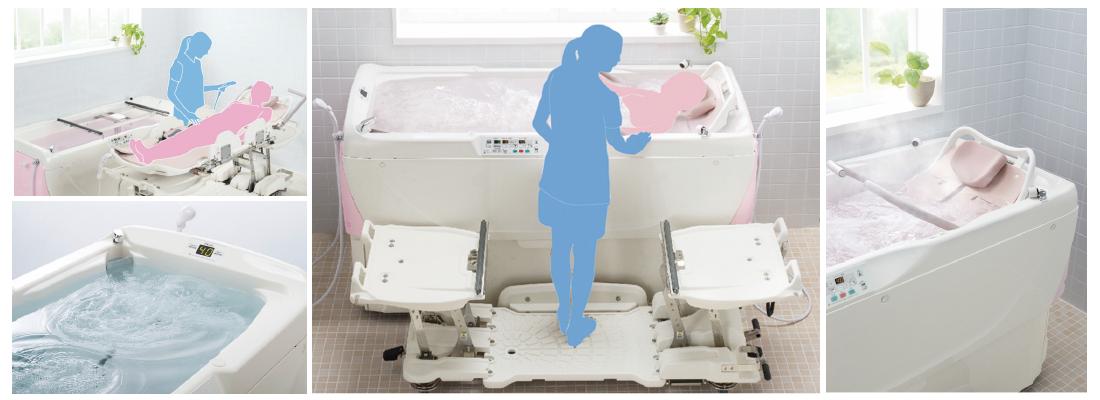 ジュスト(順送式機械浴)での入浴サービスを行っております。寝たきりで介護度が高い方でもこちらの特浴を使い、安全・安心・ゆったり・気持ちの良い入浴をして頂いております。