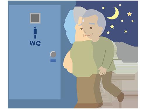 イラスト:夜中にトイレに行く男性